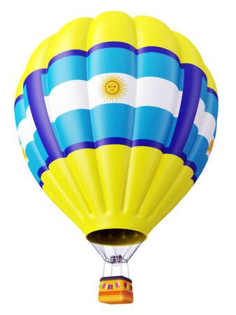 bandera argentina: Multi-color para el vuelo del globo en el aire aislado 3d Foto de archivo
