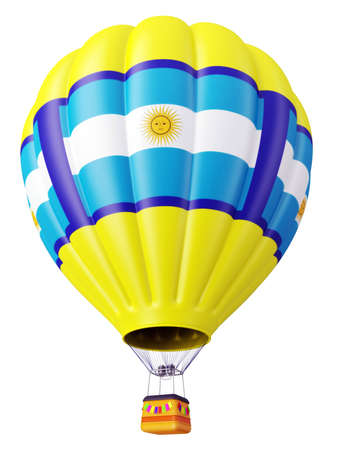 argentina: Multi-colored balloon for flight in air isolated 3d Stock Photo