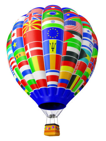 aeronautics: Balloon a symbol of globalization with flags of the countries of the states of the world isolated on a white background in 3d
