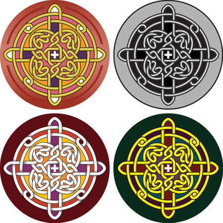 Element of design the button with Celtic a pattern - a vector