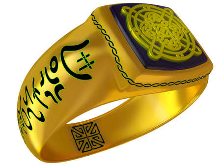 Fantastic fantasy a gold ring isolated on a white background
