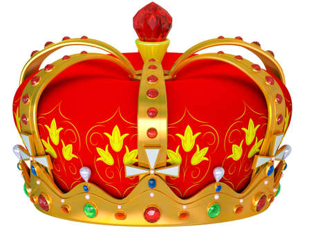 antiques: Royal gold crown isolated on a white background Stock Photo