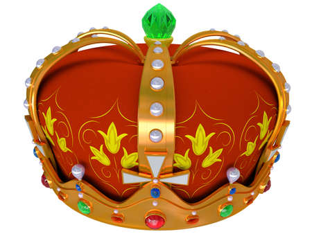jeweller: Royal gold crown isolated on a white background Stock Photo