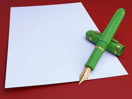 prestige: Gift gold pen, for a writing on a background of a leaf paper 3d Stock Photo