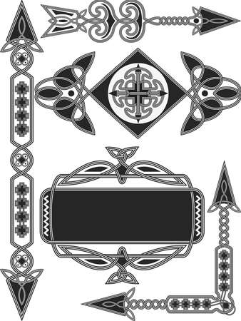Celtic traditional elements for design in a vector Vector