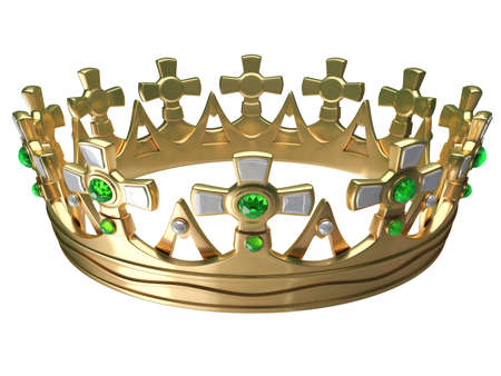 Royal gold crown isolated on a white background 3d Stock Photo