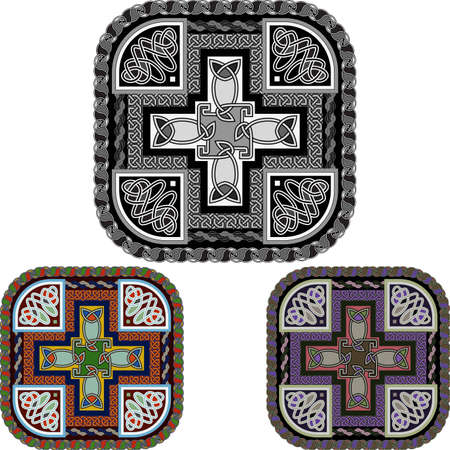 celtic design: Background with a cross and celtic an ornament
