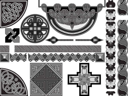 Set of elements of design in celtic style  Vector