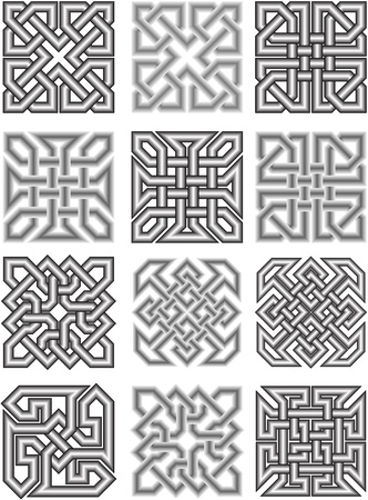 interlacing: Celtic traditional medieval ornaments Illustration