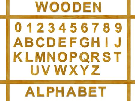 furnish: The alphabet from wooden letters isolated on a white background Stock Photo
