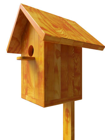 Wooden nest, a starling house for birds isolated 3d