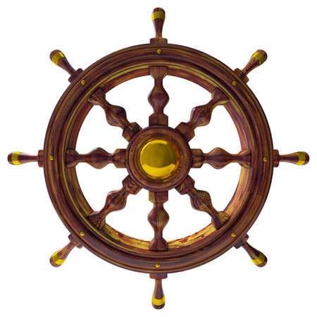 three wheel: Steering wheel of the sea ship isolated 3d