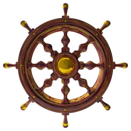 rudder: Volante della nave, mare, isolato 3d Archivio Fotografico