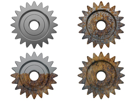 unsuitable: gear the engine various degrees of a deterioration in 3d Stock Photo