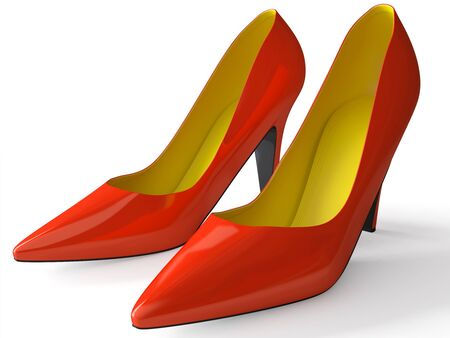 feminity: Classical female shoes on a high heel 3d Stock Photo