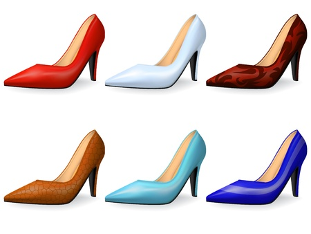 feminity: Fashionable female shoes in classical style gradient mesh
