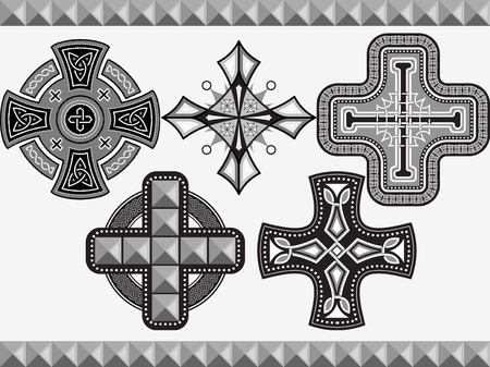 Set celtic crosses with an ornament in a vector Vector