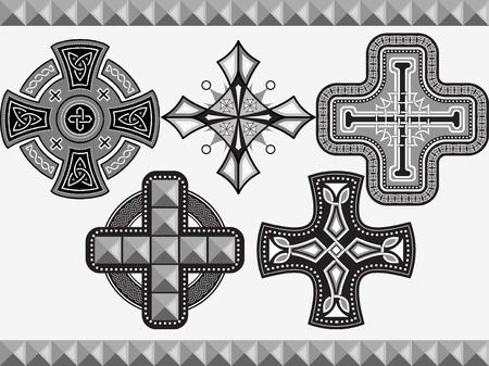 Set croci celtiche con un ornamento in un vettore Archivio Fotografico - 23289431