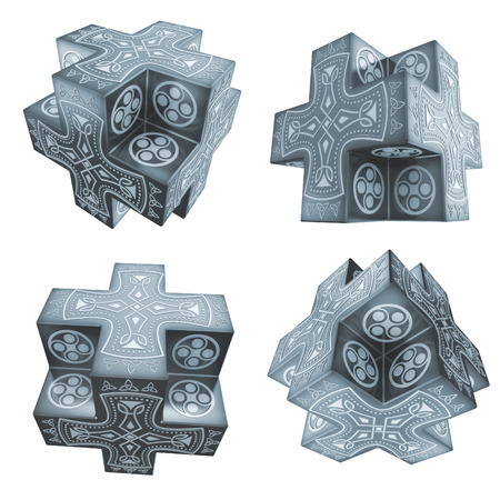 fantasy crosses artefacts with celtic symbolics 3d photo