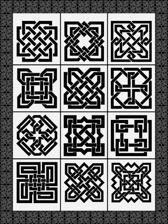 Set celtic traditional signs for a frame and design - vector Illustration