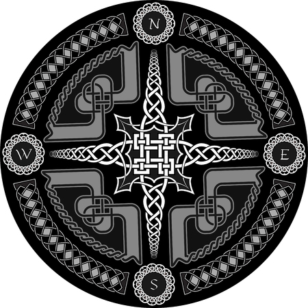 Decorative compass in Celtic style with ornament - a vector Vector