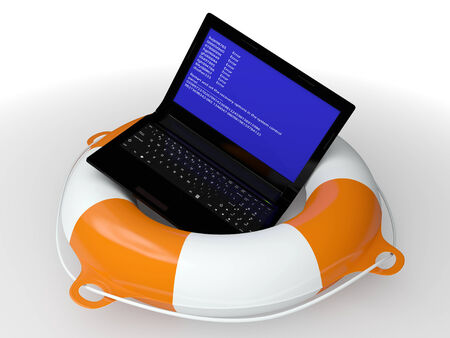 portable failure: Lifebuoy ring and faulty computer - a symbol of the technical help 3d
