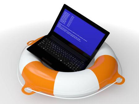 Lifebuoy Ring und fehlerhafte Computer - ein Symbol für die technische Hilfe 3d