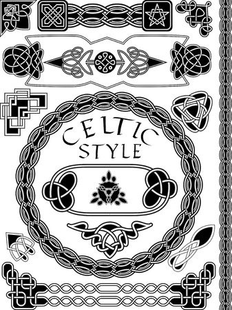 Set of elements of design in Celtic style - a vector