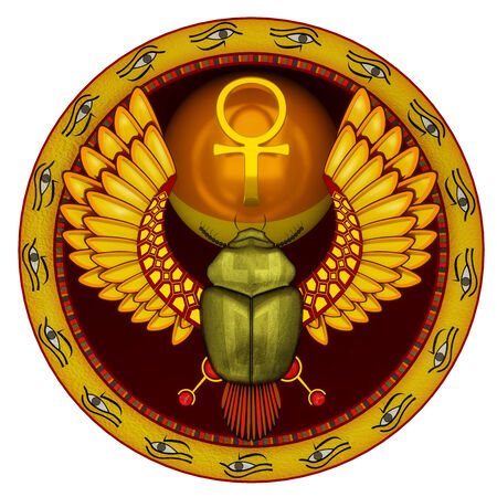 Symbol of the god the sacred solar bug a scarab in 3d