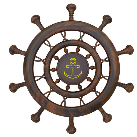 steering wheel: Steering wheel of the sea ship isolated 3d