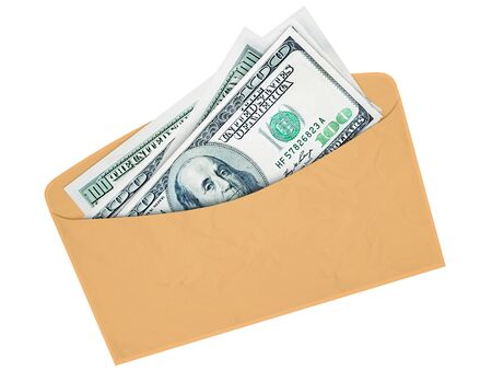 honorarios: El sobre con el dinero en efectivo de d�lares al soborno o la cuota 3d Foto de archivo