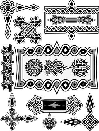 celtic design: Set of elements of design in Celtic style - a vector