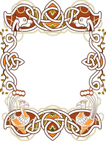 bird  celtic: celtic frame in the Irish style - vector