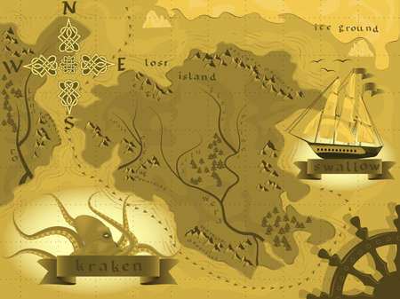 fantasy map treasures with a kraken in a vector Illustration