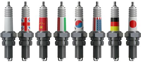 car plug: Spark plug for the engine of the car Stock Photo