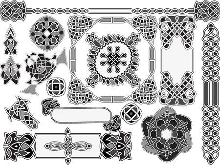 celtic: Set of elements of design in Celtic style Illustration