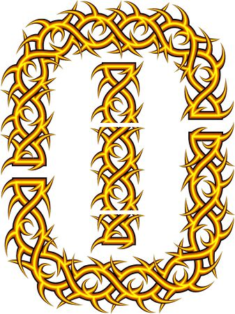 prickle: Brush with celtic an ornament with thorns and prickles in a vector