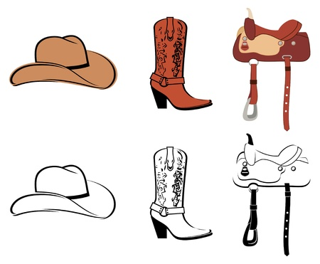 period costume: Set Of Clothes Of The Cowboy Illustration
