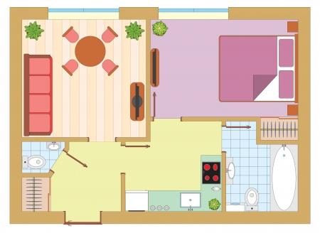 plan maison: Appartement dessin Illustration