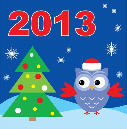 Owl Under The Christmas Tree Stock Vector - 15464325