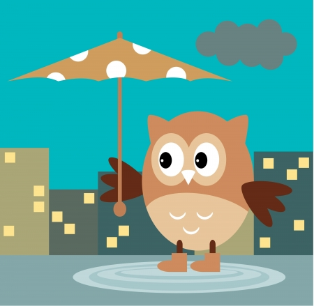 The Owl From The Rain Under An Umbrella In The Night City Vector