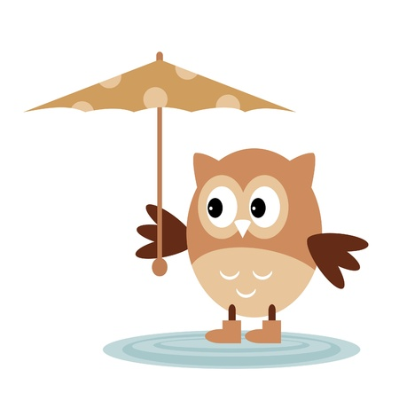 The Owl From The Rain Under An Umbrella Vector