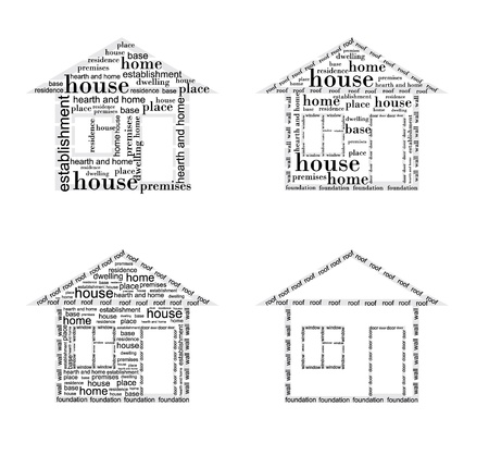Image of a house made up of words in different ways