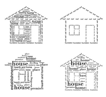 Image of a house made ??up of words in different ways Иллюстрация