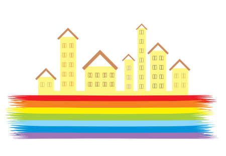 Image of houses with windows on the rainbow.