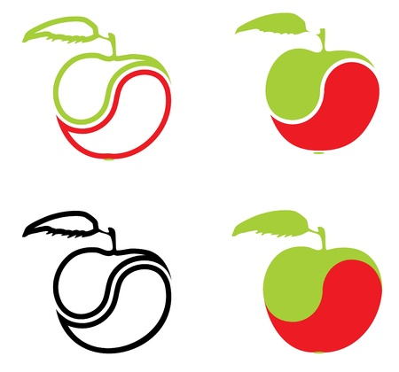 Icons in the form of an apple on a white background. Vector