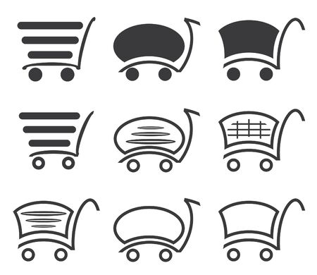 Icon set with a cart for a supermarket or shopping. Stock Vector - 18287789