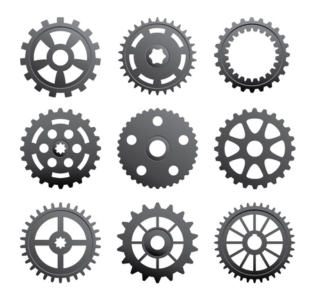 A set of gears and pinions on a white background. Vector