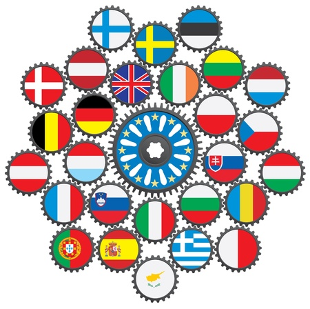 The work of the EU in the form of gears. Vector
