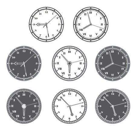 Hours set in black and white color. Stock Vector - 18287827